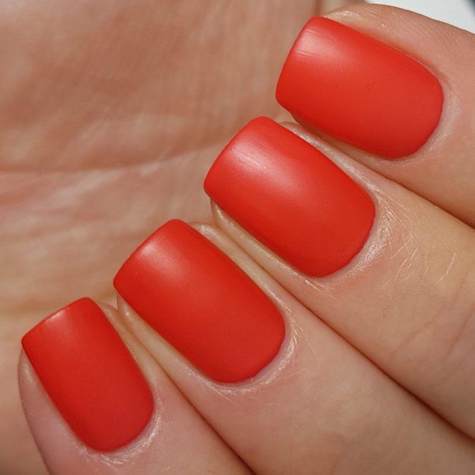 Love swatch - bright neon red matte top coat