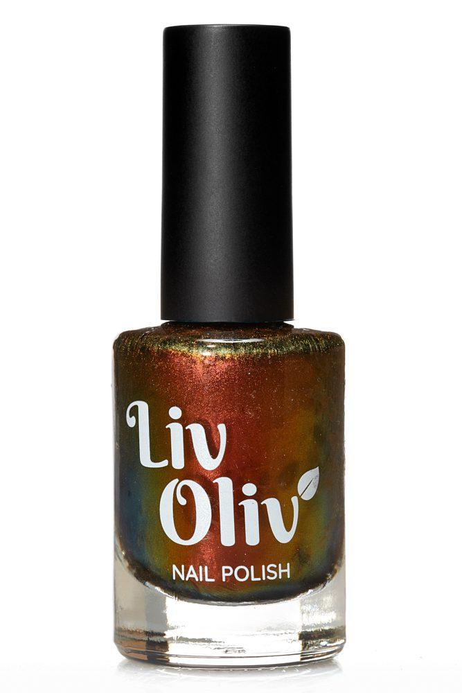 Copper, gold & green ultra chrome nail polish