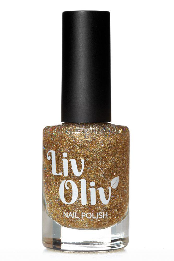 Livoliv cruelty free nail polish glitter gold