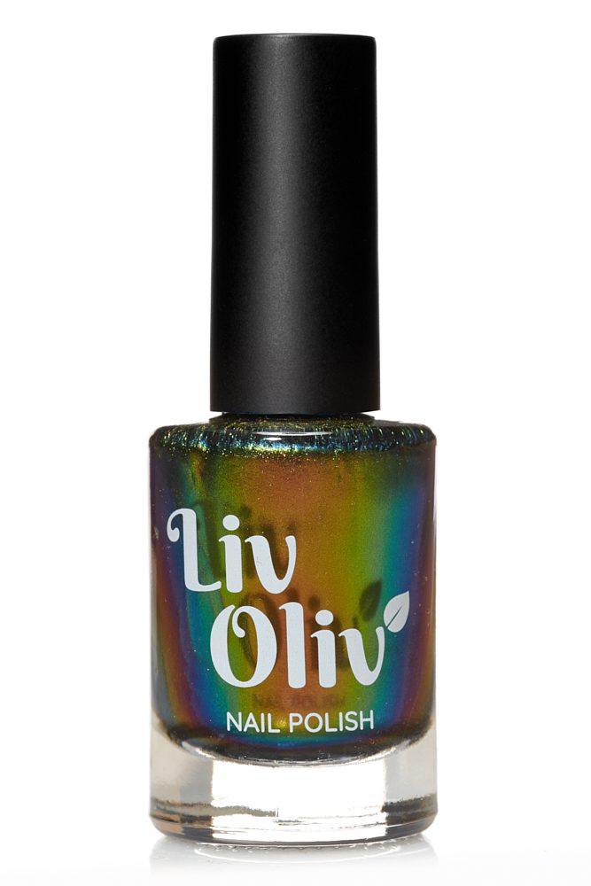 Copper, green, blue & yellow multi coloured ultra chrome vegan nail varnish
