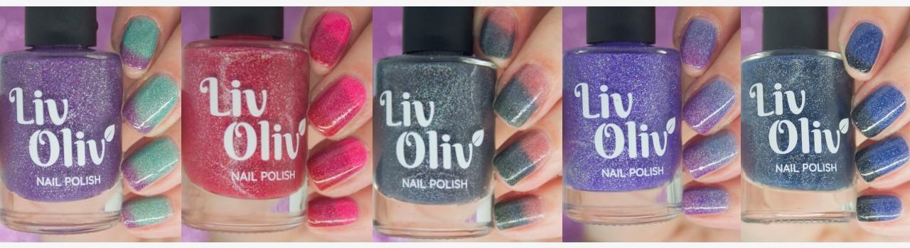 five livoliv cruelty free thermal nail polish in row