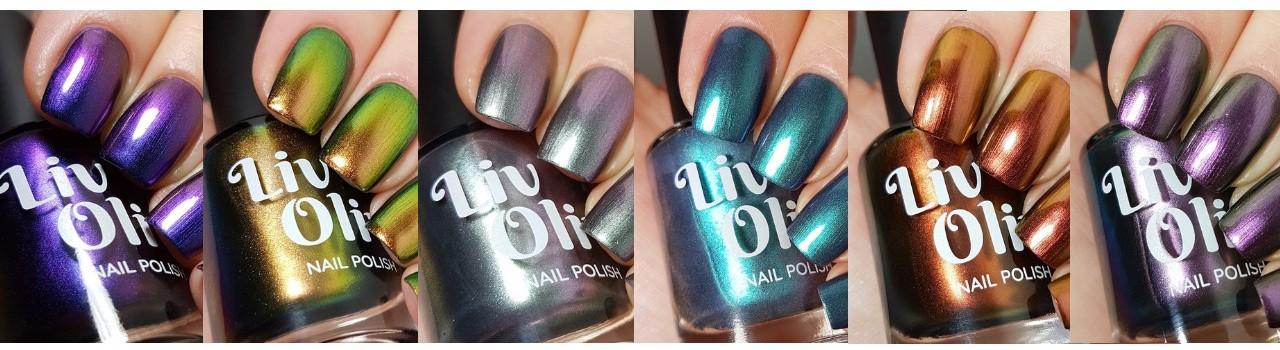 close up of six cruelty free livoliv ultra chrome nail polish